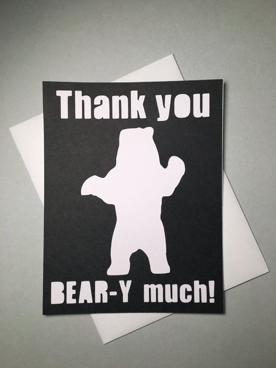 Thank You Beary Much Card Funny Thank You by ThePunnyPachyderm