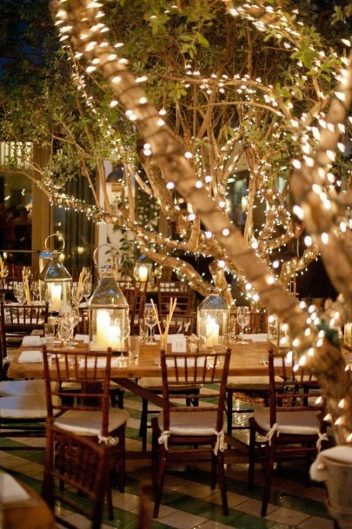 Outdoor wedding reception idea! Must do lights on trees and lanterns. Gorgeous