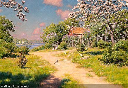 Johan Krouthén (1859-1932): Barn I Sommargrönska