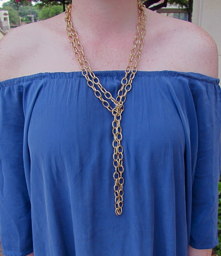 This gold chain is so versatile!  Wear it long, wrap it, or wear it like a lanyard (shown): Gold Chains