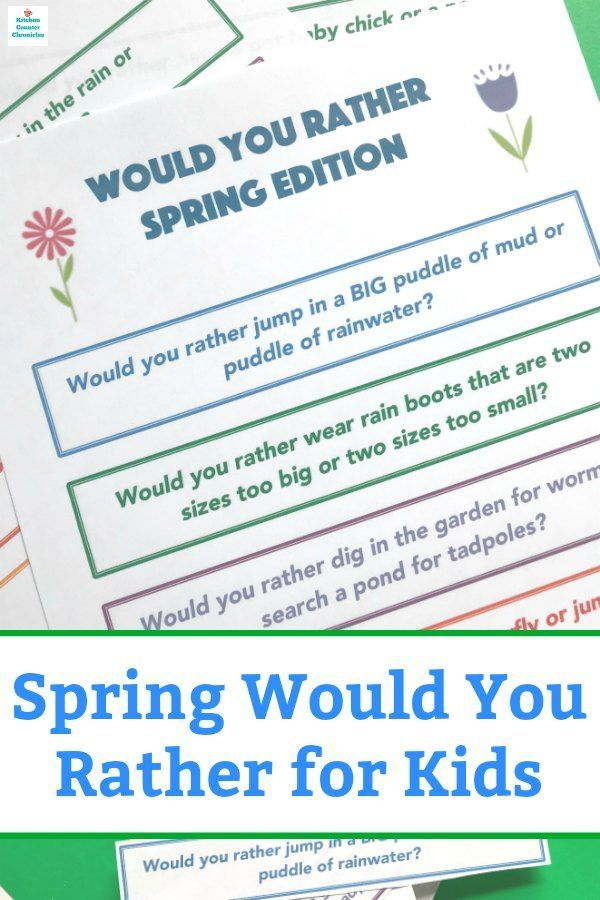 graphic relating to Would You Rather Printable identify Amusing Spring Would By yourself Very for Small children Kitchen area Counter