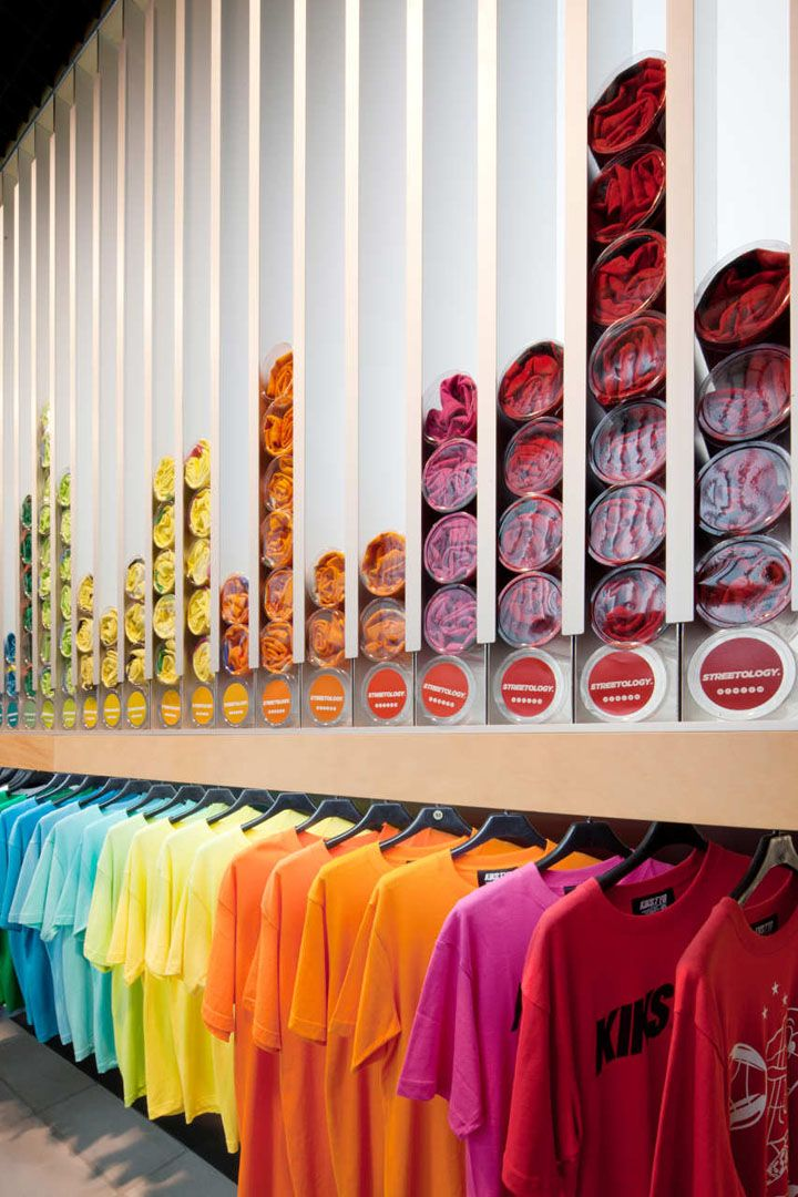 Streetology by Facet studio, Sydney. Cool store layout that looks aesthetically pleasing to the eye and saves a lot of space as well. Love it.