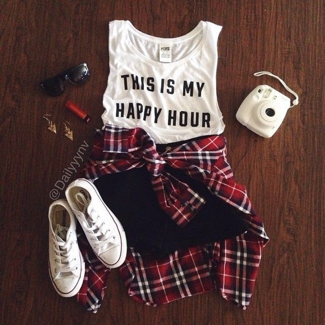 """Teen Fashion White Muscle Tank """"This is My Happy Hour"""" Red Plaid Flannel Tied at Waist White Converse Shoes White Fujifilm Instax Mini 8 Camera Black Shorts Black Sunglasses Red Lipstick Gold Dangle Earrings #teenfashionoutfits"""