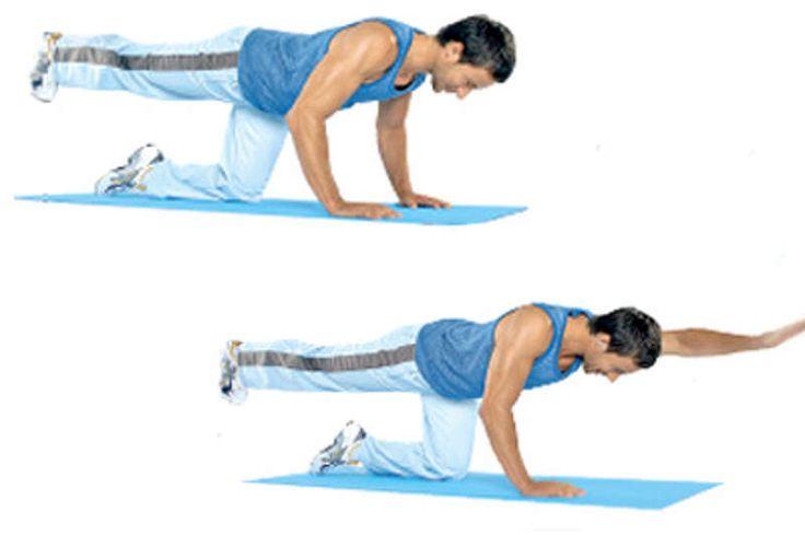 Das Gewicht lastet auf Knien und Händen. Bauch und Po anspannen, Blick auf den Boden, ruhig atmen. Variante a: rechtes Bein in die Horizontale heben, die rechte Fußspitze anziehen, Bein in dieser Position halten. Variante b für Geübte: wie a, jedoch dazu den linken Arm ebenfalls waagerecht halten. Haltezeit jeweils 10 bis 15 Sekunden. 3 Durchgänge pro Seite.