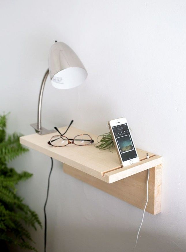 Don't want to deal with the clutter of a four-legged bedside table? This floating nightstand is for you.