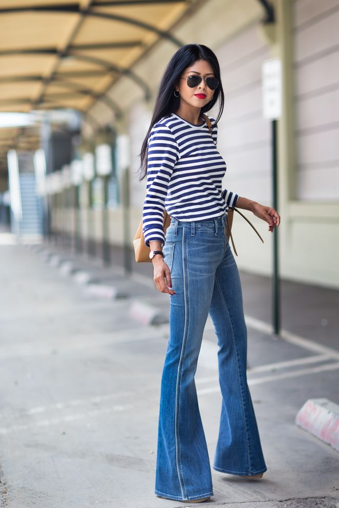 flared jeans and striped shirt