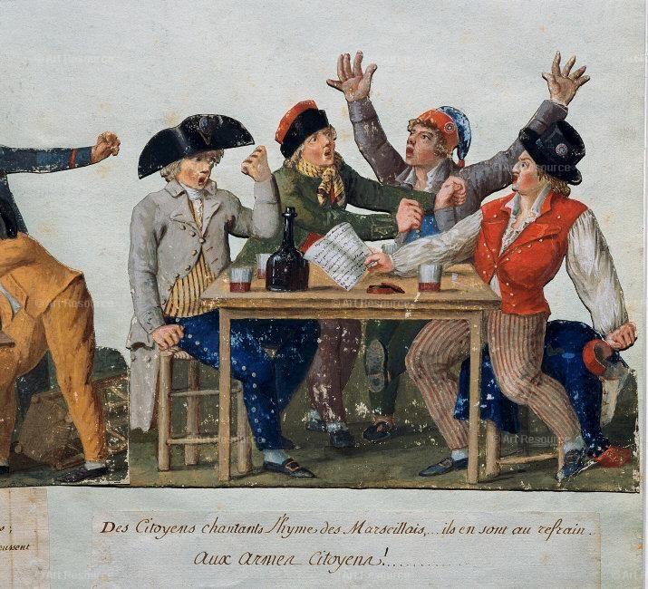 Lesueur Brothers, French Revolution of 1789: Citizens singing the Marseillais e: aux armes Citoyens. Sans-culottes seated at a table in a tavern. Carnavalet Museum