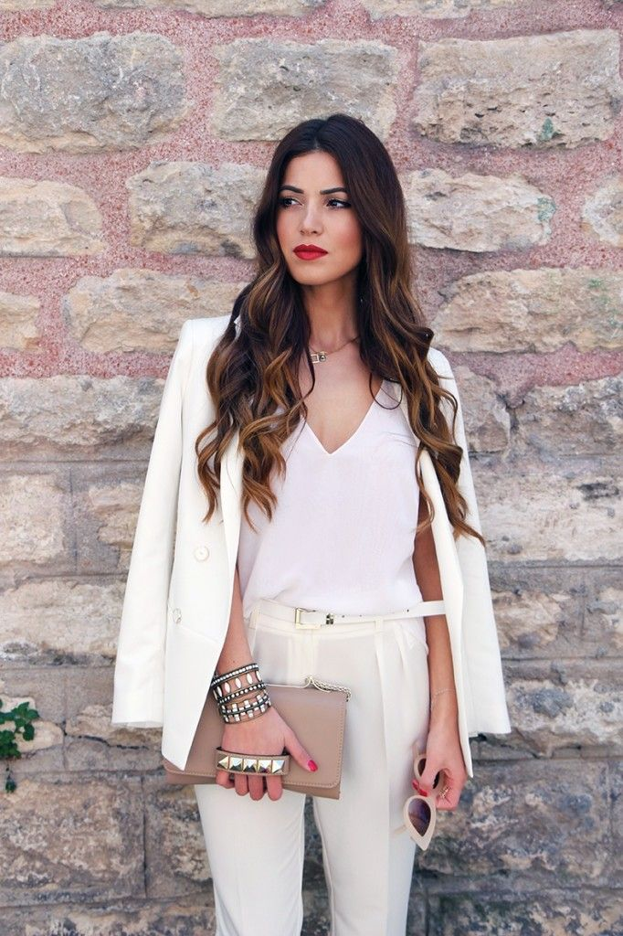 Perfect White Pant Suit | Negin Mirsalehi