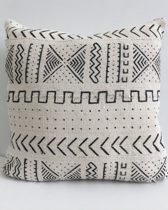 african mud cloth pillow cover ethnic handwoven black and cream