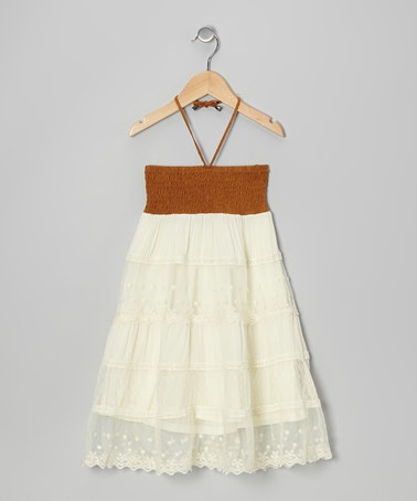 Brown &amp- Cream Overlay Convertible Dress - Girls - Convertible ...