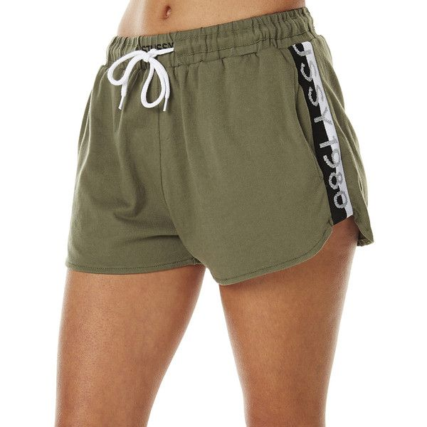 Womens Stussy Wembley Womens Jersey Short Green Cotton ($54) ❤ liked on Polyvore featuring shorts, green, jogger shorts, women, green shorts, cotton elastic waist shorts, stretch waist shorts, draw string shorts and mid rise shorts