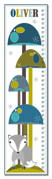 """Each 10"""" x 39"""" growth chart comes personalized with your child's first name."""