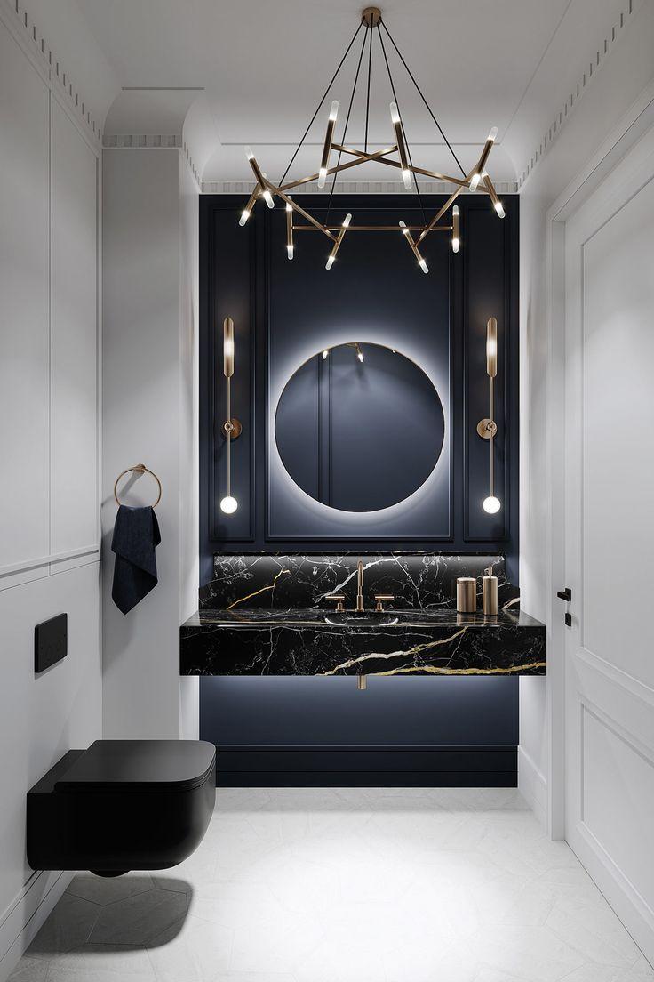 Neoklassizistisches Innendesign auf Grau-Basis mit gedämpften und metallischen Akzenten