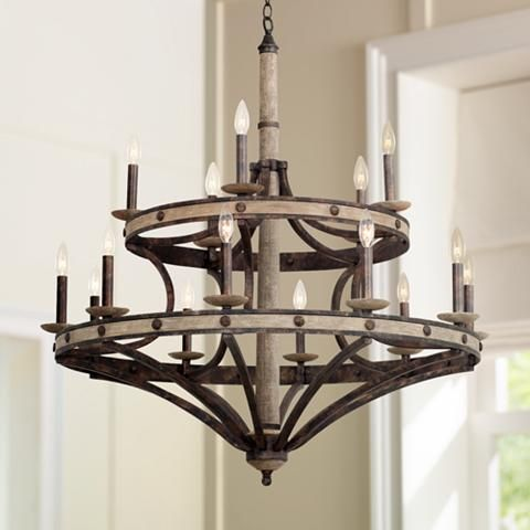 "Coronado Florence Gold 38""W Wrought Iron Chandelier"