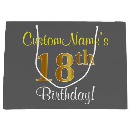 Elegant Gray Faux Gold 18th Birthday Name Large Gift Bag