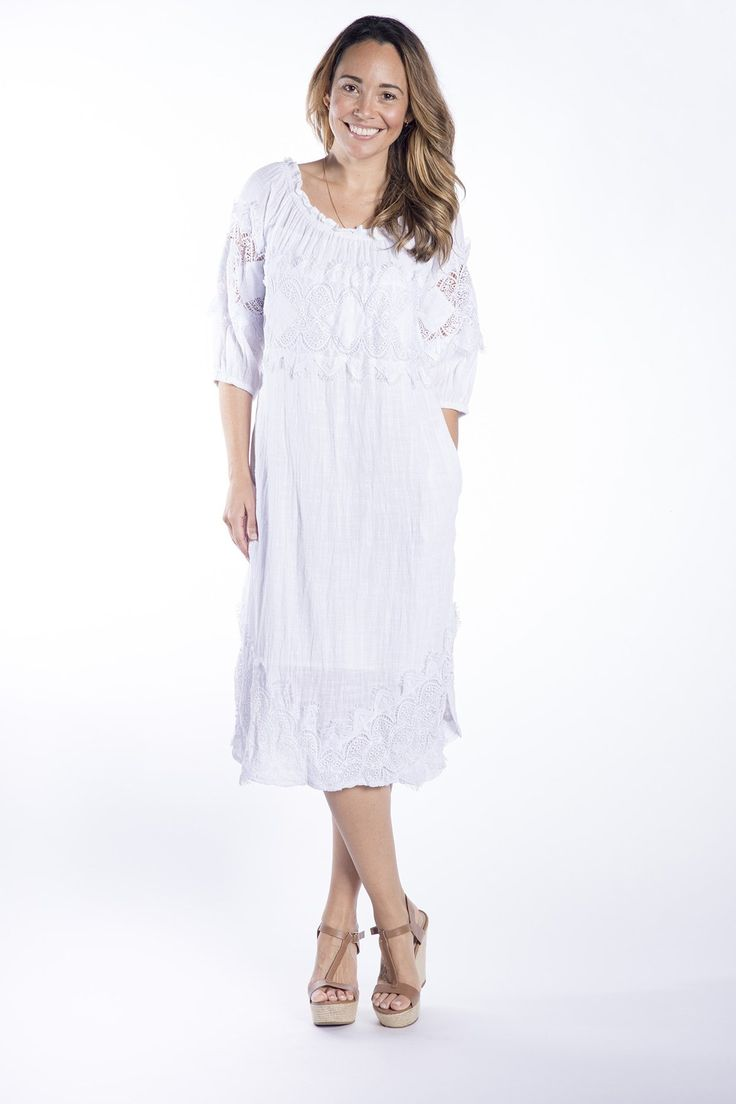 Cafe Latte - Savannah White Crochet Dress - Clw829