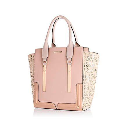Light pink metallic laser cut tote bag £45.00 - River island