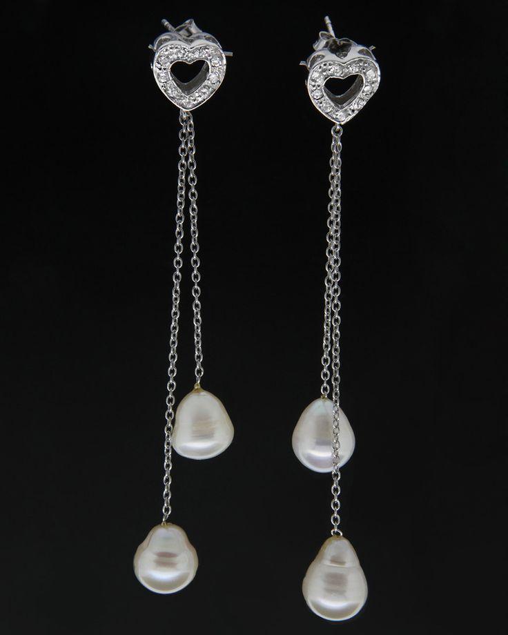 Κρεμαστά σκουλαρίκια λευκόχρυσα Κ18 με Μαργαριτάρια & Ζιργκόν