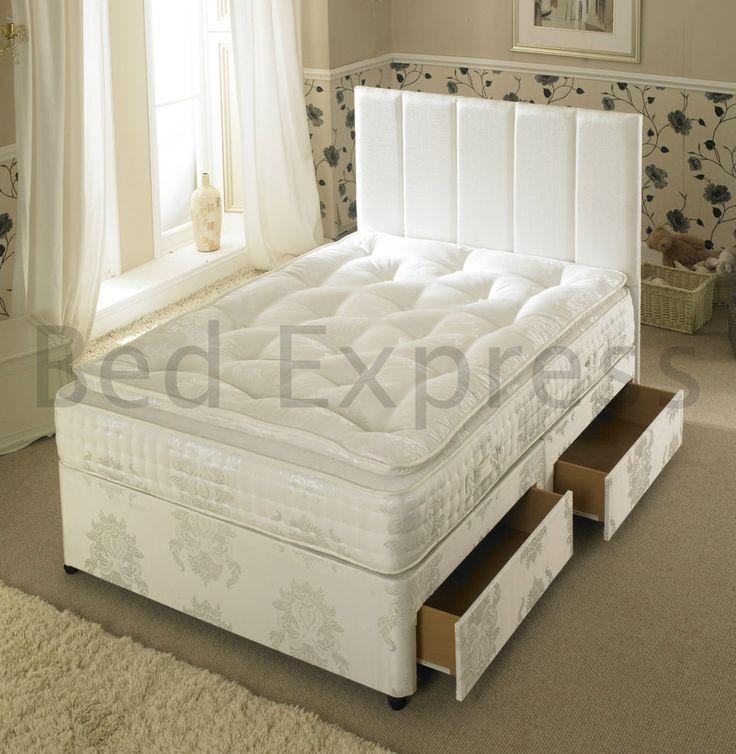 6ft Super King Size 5000 Pocket Spring Memory Foam Pillow Top Divan Bed