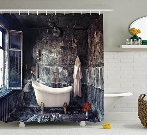 Bathtub In Old Room Retro Style Theme Bathroom Shower Curtain Set With  Hooks #Ambesonne