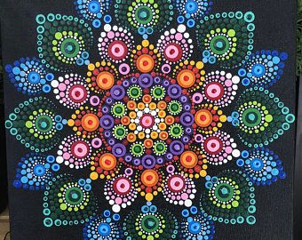 """RESERVED FOR JENNIFER Hand painted dot mandala on a 10""""x10"""" canvas board."""