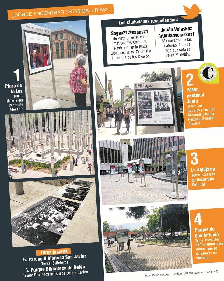 En la ciudad, algunos espacios son el escenario perfecto para la exhibición de fotografías que cuentan la historia de Medellín. La twittercrónica los visitó.