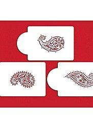 four-c koffie en chocolade decoratie stencils gereedschappen, cupcake decoratie sjabloon mallen, 3pcs / set