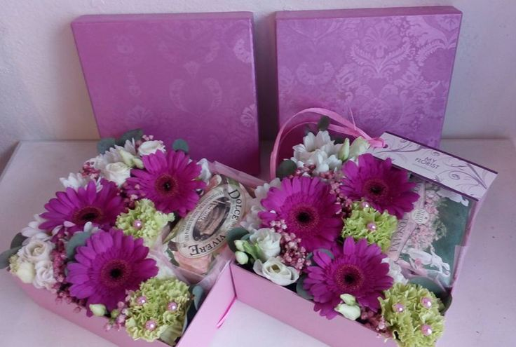 Flower Box with gerbera, dianthus, eustoma, gypsophilla and a present (soap)