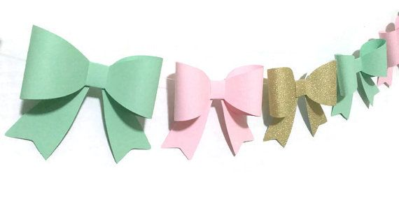 Wedding Garland, Pink Mint Gold Bows Paper Bow Garland by CarismaticDesigns