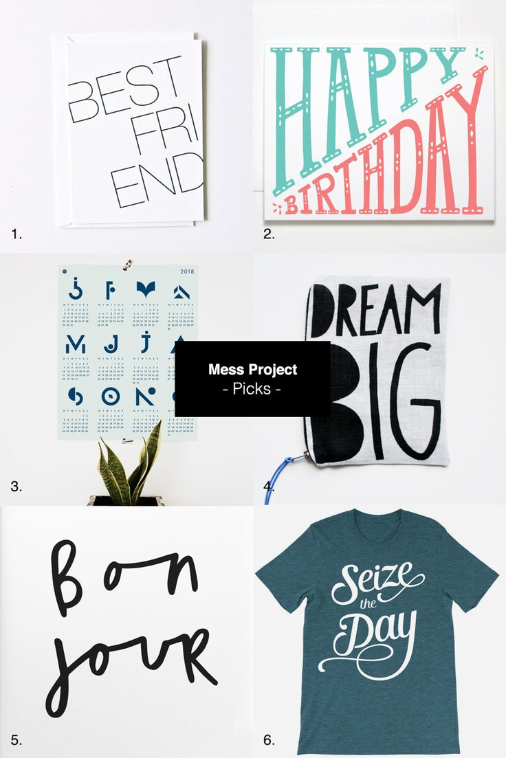 Letterpress printed greeting card Happy Birthday Card Typographic 2018 poster calendar Dream big pouch Bonjour print Seize the day t-shirt Join me on Facebook – Twitter – Tumblr – Instagram – Pinte… #etsy #typography