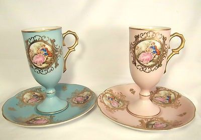 PAIR OF 2 MATCHING VINTAGE LEFTON CHINA TALL DEMITASSE CUPS & SAUCERS HAND PAINTED GOLD BEAD TRIM ROMANTIC SCENE