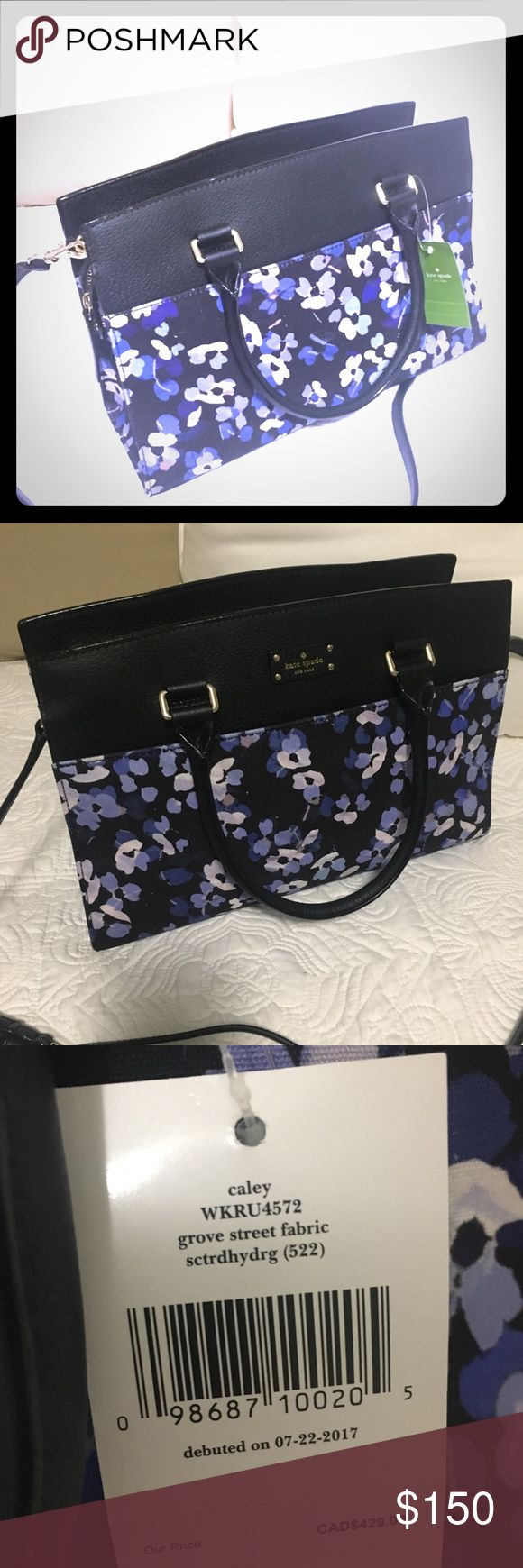 """NWT Kate Spade Grove Street Hydrangea Satchel Brand new with tags Kate Spade Grove Street (debuted 7-2017)   • Brand: Kate Spade  • Caley Grove Street Fabric  • Saffiano leather/fabric  • 20""""crossbody strap/detachable  • 14 kt gold-plated hardware  • dual 6"""" handles  • Kate Spade logo on front  • Large slip pocket on front  • Secure zippered top  Retails $ 359.00 kate spade Bags Satchels"""