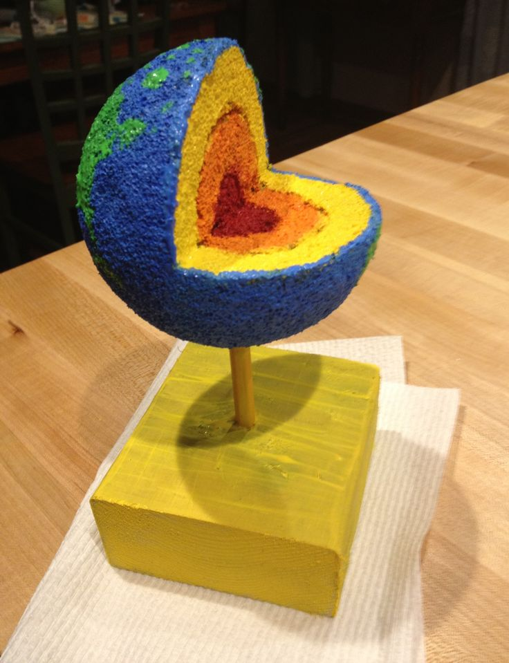 Earth layer project using styrofoam ball, acrylic paint, pencil and wood for stand.