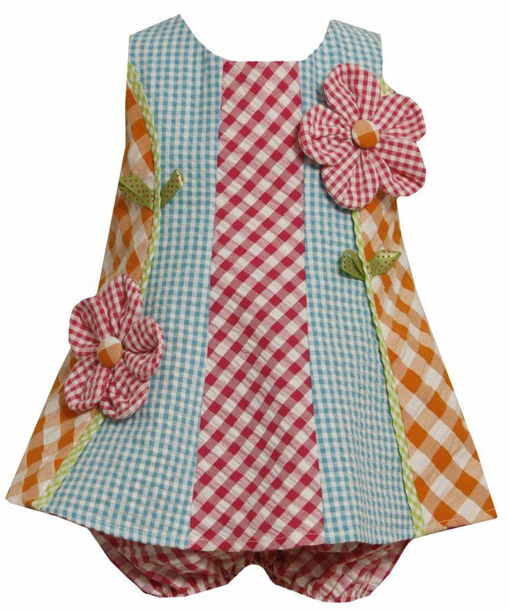 Bonnie Jean Baby/INFANT 12M-24M 2-Piece MULTICOLOR MULTI-CHECKERED COLORBLOCK 'Button Flower' APPLIQUE SEERSUCKER Spring Summer Girl Party Dress  Price:$29.90