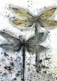 etching of dragonflies