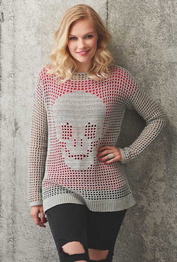 Crochet Skull Jumper Crochet Pattern Slouchy Jumper Instant