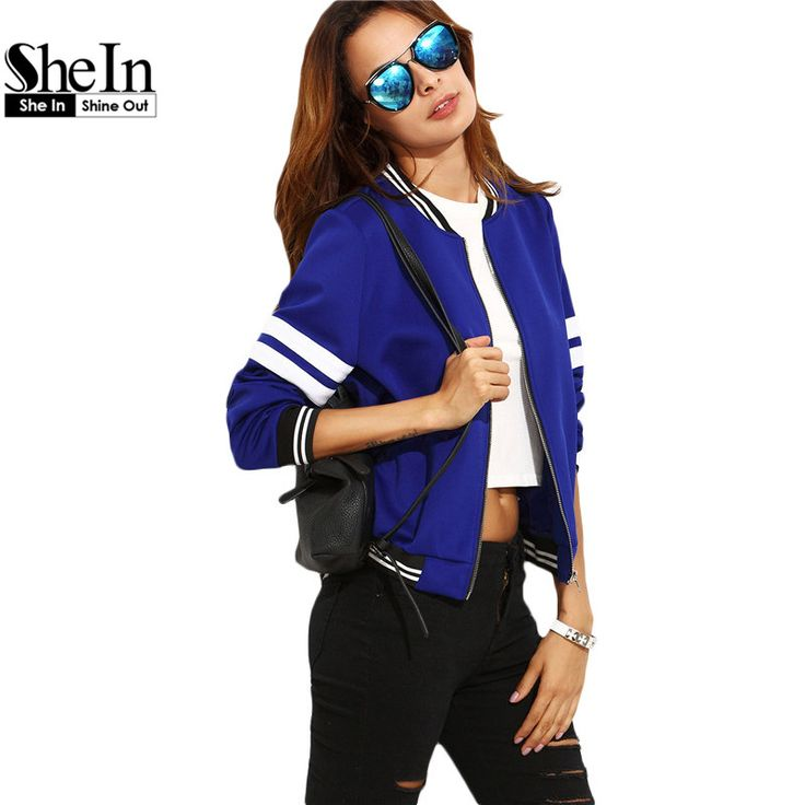 SheIn Short Jackets For Women Autumn Fashion Royal Blue Contrast Trim Stand Collar Long Sleeve Zipper Baseball Basic Jacket Coat aliexpress.com
