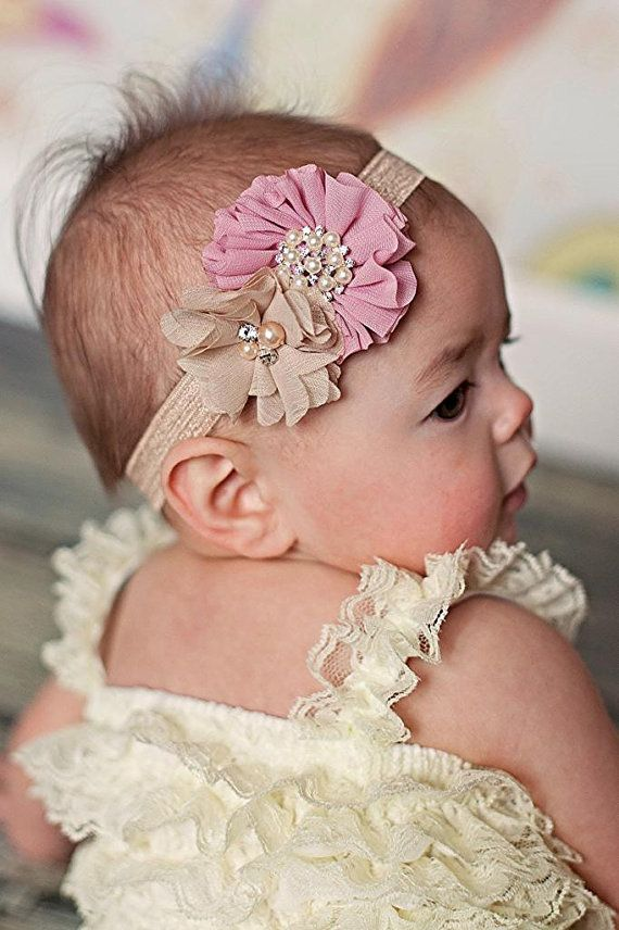 Baby headband, Vintage Pink and Beige Shabby Chic headband, Baby headbands, Baby girl headband, toddler headband