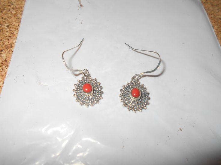 Red jade earrings in sterling silver