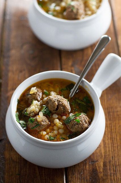 Moroccan Meatball Couscous Soup