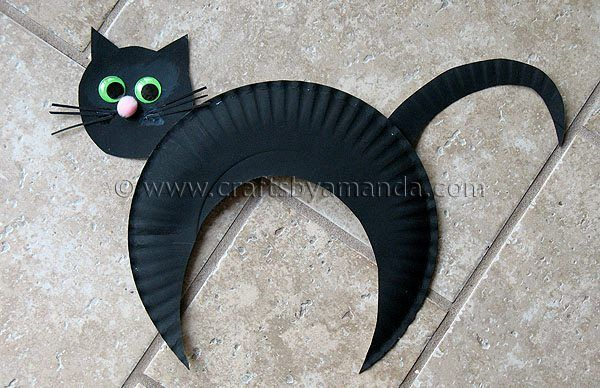 Paper Plate Black Cat. Cute