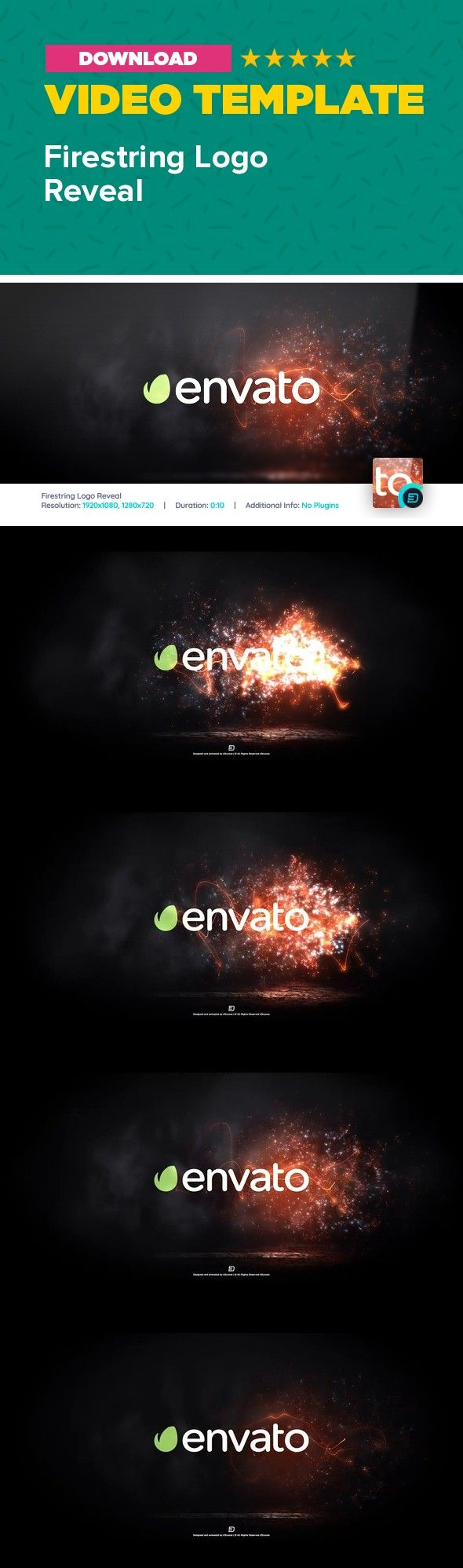 cinematic, dark, energy, fire, intro, light, opener, organic, particle reveal, particles, reveal, reverse, slow motion, smoke, string  Short description   Firestring Logo features modern and energetic design combined with slow motion particles and dark smokey ambience. Customization is really easy – drop in your logo, adjust the colors to your needs and hit Render. Works with any LOGO or TEXT! Perfect as an opener or intro to your slideshows, presentations, TV shows, products, Vlog, gaming…