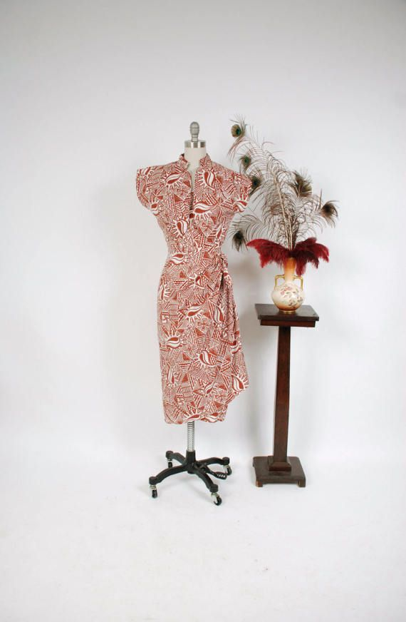 Vintage 1950s Dress - Rare Crisp Cotton Hawaiian Tiki Sarong Dress with Matching Bolero by Paradise Sportwear VLV