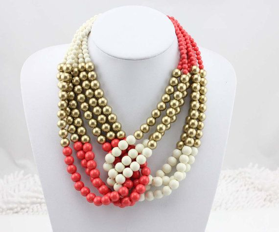Beaded Statement Necklace Handmade Bead Necklace by Necklace21, $12.90