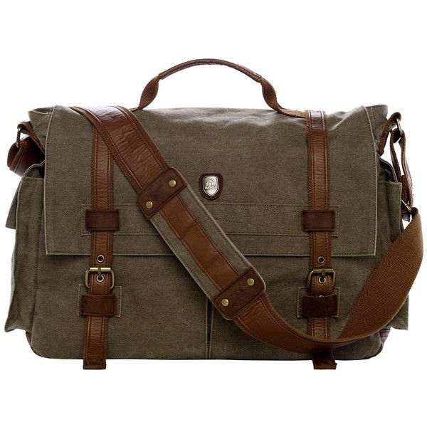 "17"" Laptop Army Green Leather Canvas Messenger Bag ($75) ❤ liked on Polyvore featuring bags, messenger bags, canvas messenger bag, brown messenger bag, canvas courier bag, laptop messenger bag and vintage messenger bag"