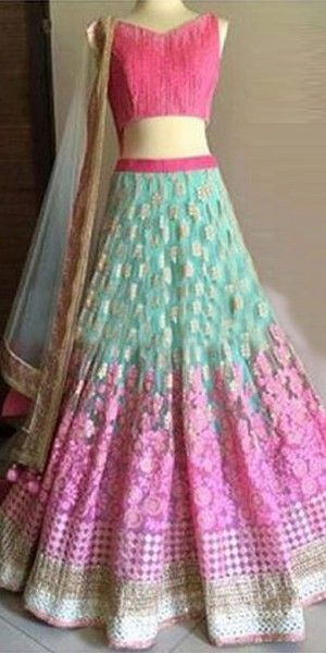 Striking Pink And Blue Net Designer Lehenga Choli With Dupatta.