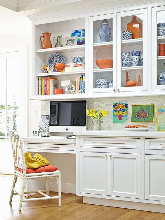Ways to create double-duty in the kitchen with a small office. Mix in a little color and pattern to liven up white or neutral. BHG