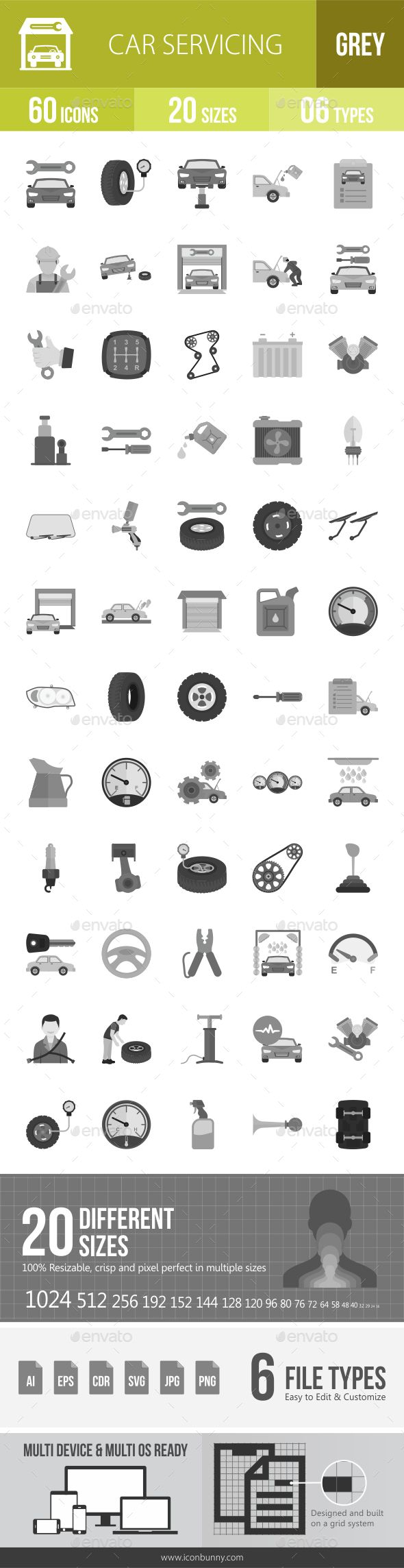 Car Servicing Greyscale Icons