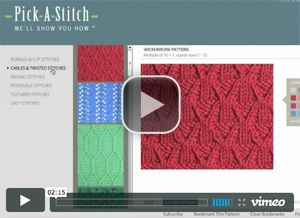 Video demo of Pick-A-Stitch™ Digital Knitting Stitch Collections