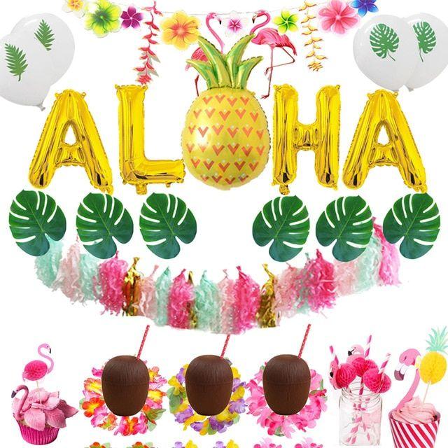 Tropical Hawaiian Beach Luau Pineapple Flamingo Hen Do Garland Bunting